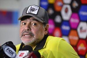 Maradona en una rueda de prensa del Dorados de Sinaloa, equipo que entrena en la actualidad