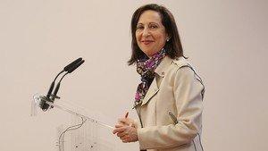 Margarita Robles en una rueda de prensa.