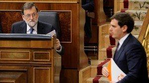 Mariano Rajoy y Albert Rivera, el pasado 14 de marzo en el Congreso.