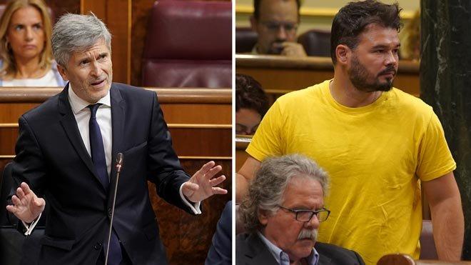 """Marlaska dice que los policías enviados a Catalunya fueron a garantizar """"derechos y libertades"""". Rufián le contesta que no es un refuerzo, es una ocupación."""