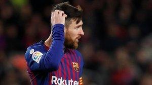 Messi durante el Barça-Valencia en el Camp Nou.