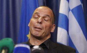 El ministre grec de Finances, Iannis Varufakis, a la roda de premsa d'aquest dissabte.