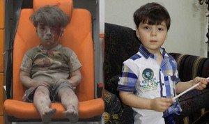 Omran Daqneesh, a la izquierda, el pasado agosto, tras un bombardeo en Alepo, y, a la derecha, en la actualidad.