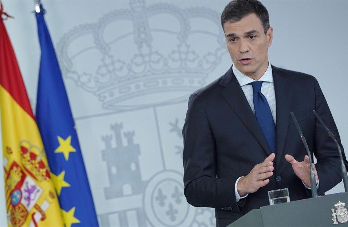 Pedro Sánchez, este miércoles en la Moncloa.