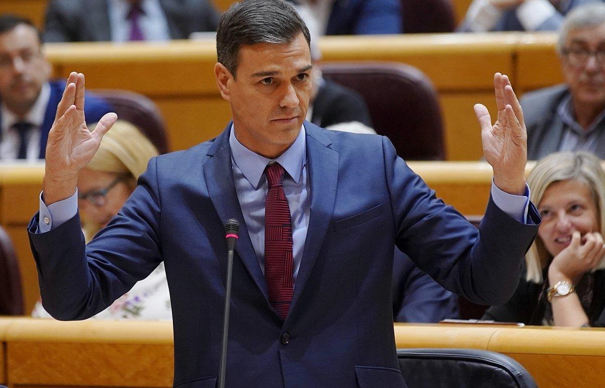 Pedro Sánchez, en la sesión de control al Gobierno.