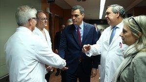 Pedro Sánchez, en su visita del 21 de octubre en el Hospital de Sant Pau.