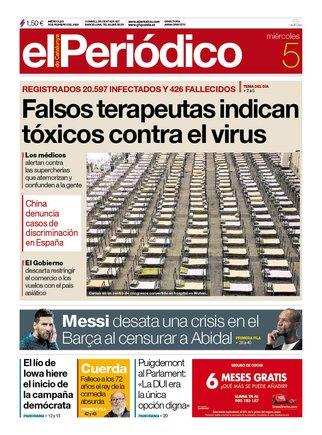 La portada de EL PERIÓDICO del 5 de febrero del 2020.