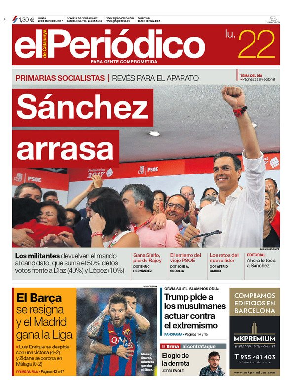 La portada de EL PERIÓDICO del 22 de mayo del 2017.