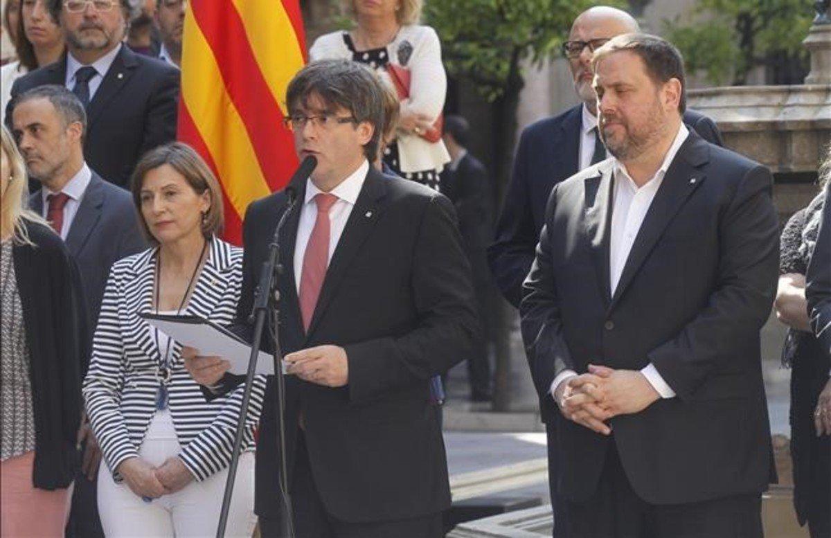El president, Carles Puigdemont, durante el anuncio de la fecha y la pregunta del referéndum.