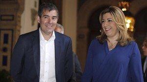 La presidenta andaluza, Susana Díaz, y su homólogo canario, Fernando Clavijo, el pasado día 5,en Sevilla.