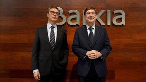 El presidente de Bankia, Jose Ignacio Goirigolzarri y el consejero delegado, Jose Sevilla, durante la presentación de los resultados de la entidad correspondientes al ejercicio 2019