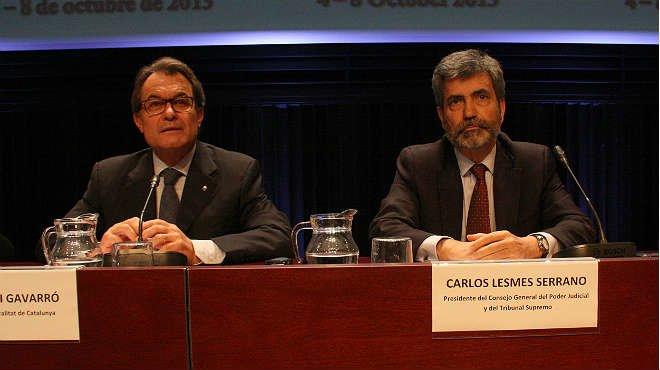 Encuentro del president Mas con el ministro de Justicia y con el presidente del Tribunal Supremo, Carlos Lesmes, en la reunión anual de la unión internacional de magistrados