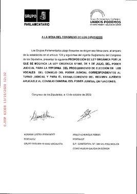 Proposición de ley de PSOE y Unidas Podemos para reformar la Ley Orgánica del Poder Judicial (LOPJ) y forzar la renovación del CGPJ.