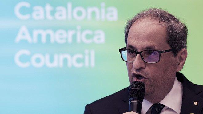 Quim Torra dice en Washington que trabajará hasta lograr reconocimiento internacional para Catalunya.