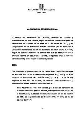 Recurso del Parlament contra el artículo 155.
