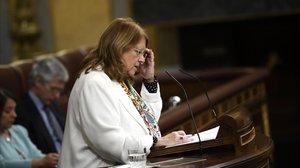 La diputada del grupo parlamentario del PPElvira Rodríguez, durante su intervención en el Congreso de los Diputados.