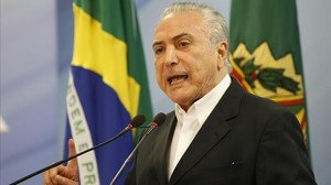 Temer, durante su intervención pública en Brasilia, el 20 de mayo.