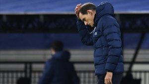 Tuchel lamentándose tras la derrota en Champions ante el Leipzig. /Reuters