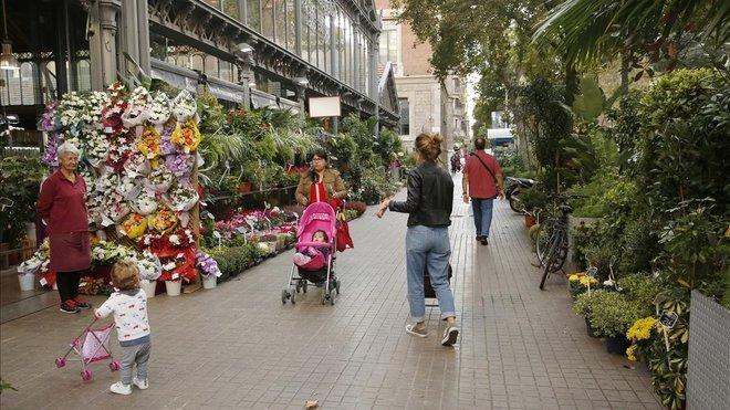Una floristería de Barcelona, ayer.
