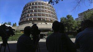 Imagen del Tribunal Constitucional este lunes por la mañana.