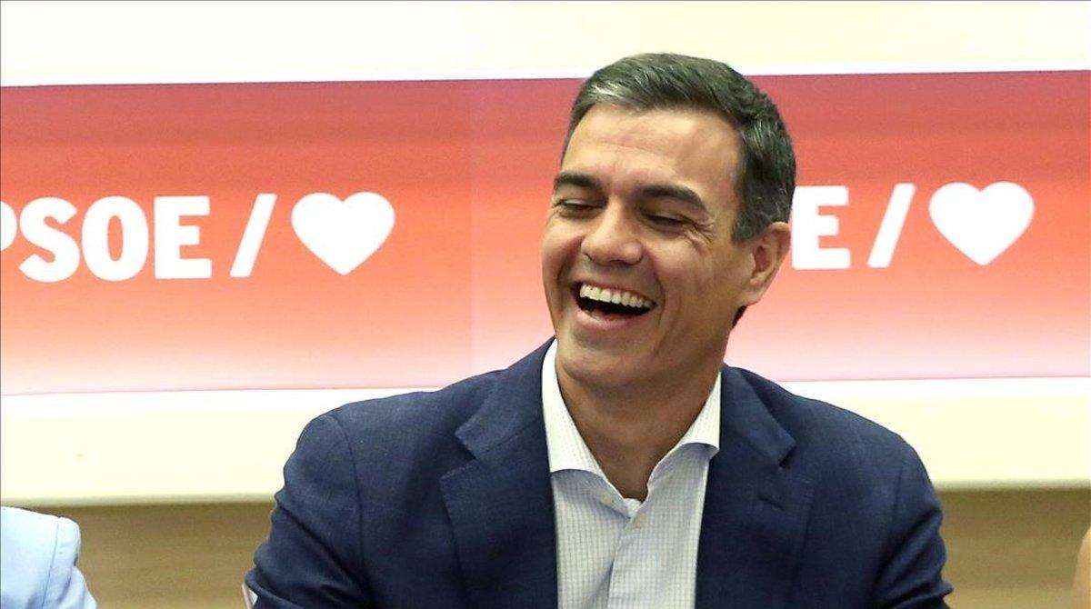 Pedro Sánchez, este lunes en la sede del PSOE.