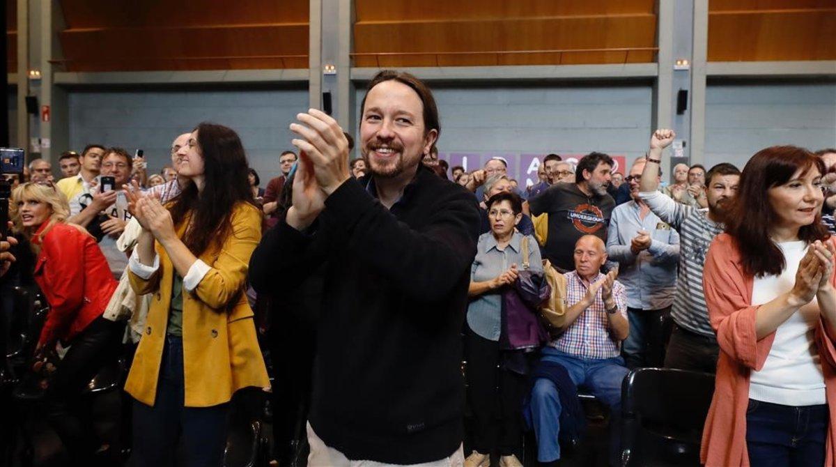 El candidato de Unidas Podemos, Pablo Iglesias, en un acto en Zaragoza