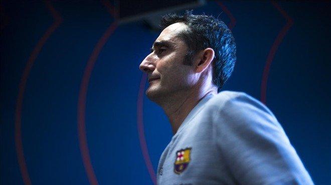 Ernesto Valverde, en la sala de prensa de la Ciutat Esportiva Joan Gamper.