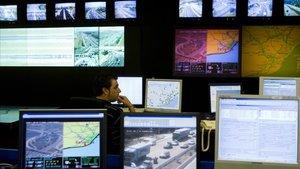 Centro de gestión de tráfico e información viaria del SCT en Barcelona.