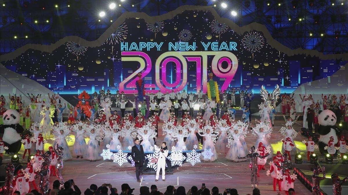 Celebración de Nochevieja en Beijing, China