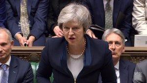 La primera ministra, Theresa May, durante su intervención en Westminster.