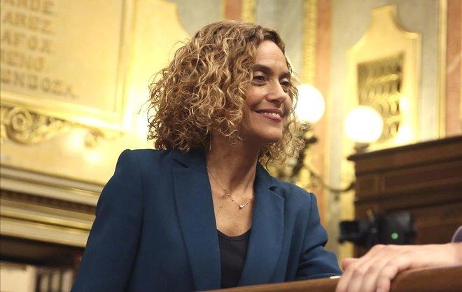 La nueva presidenta del Congreso, Meritxell Batet, esta mañana en el hemiciclo.