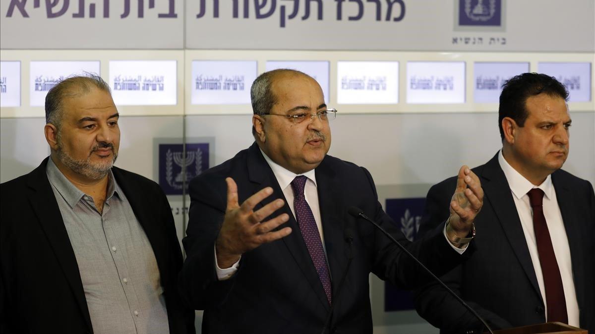 Dirigentes árabes de la Lista Conjuntaen la rueda de prensa de hoy enJerusalén,