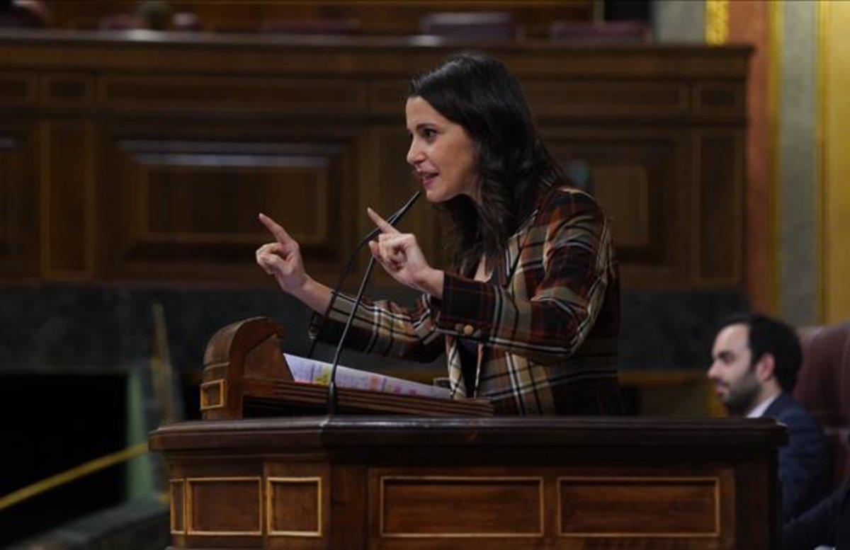 La portavoz de Cs en el Congreso, Inés Arrimadas, ayer, durante el debate de investidura.