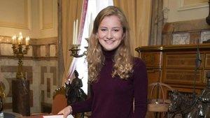 La princesa Isabel, en la Escuela Real Militar de Bélgica.