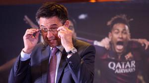 Josep Maria Bartomeu, durant un acte a la seu de la seva candidatura a la presidència del Barça.