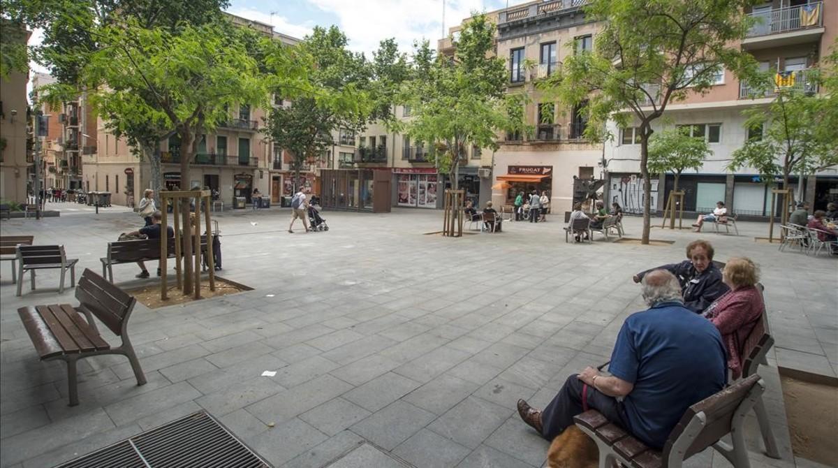 Plaza del Diamant, en el barrio de Gràcia, en la que La Colometa conoció a su marido