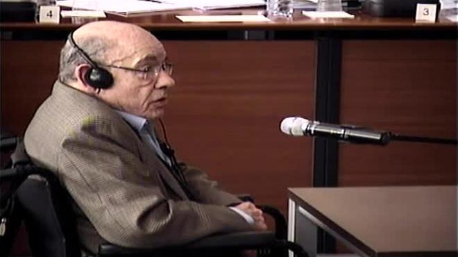 El expresidente del Palau de la Música Fèlix Millet, durante su declaración.