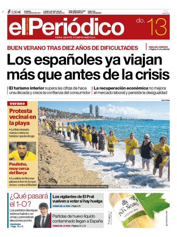 La portada de EL PERIÓDICO del 13 de agosto.
