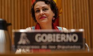 Magdalena Valerio, durante la comisión en la que ha intervenido en el Congreso de los Diputados.