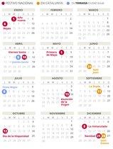 Calendario laboral de Terrassa del 2020.