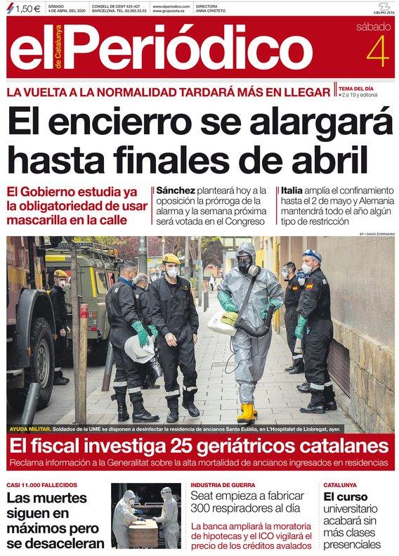 La portada d'EL PERIÓDICO de l'4 de abril del 2020