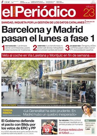 La portada d'EL PERIÓDICO del 23 de maig del 2020