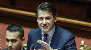 Giuseppe Conte en el Senado.