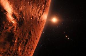 Ilustración de la superficie de uno de los planetas del sistema TRAPPIST.