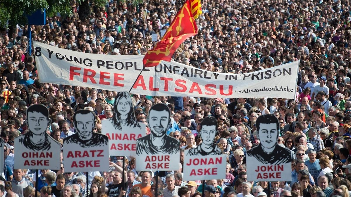 Manifestación en Pamplona en protesta por la sentencia del caso Alsasua.