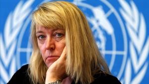 Jody Williams, premio Nobel de la Paz en 1997, en la ONU, en Ginebra, en el 2013.