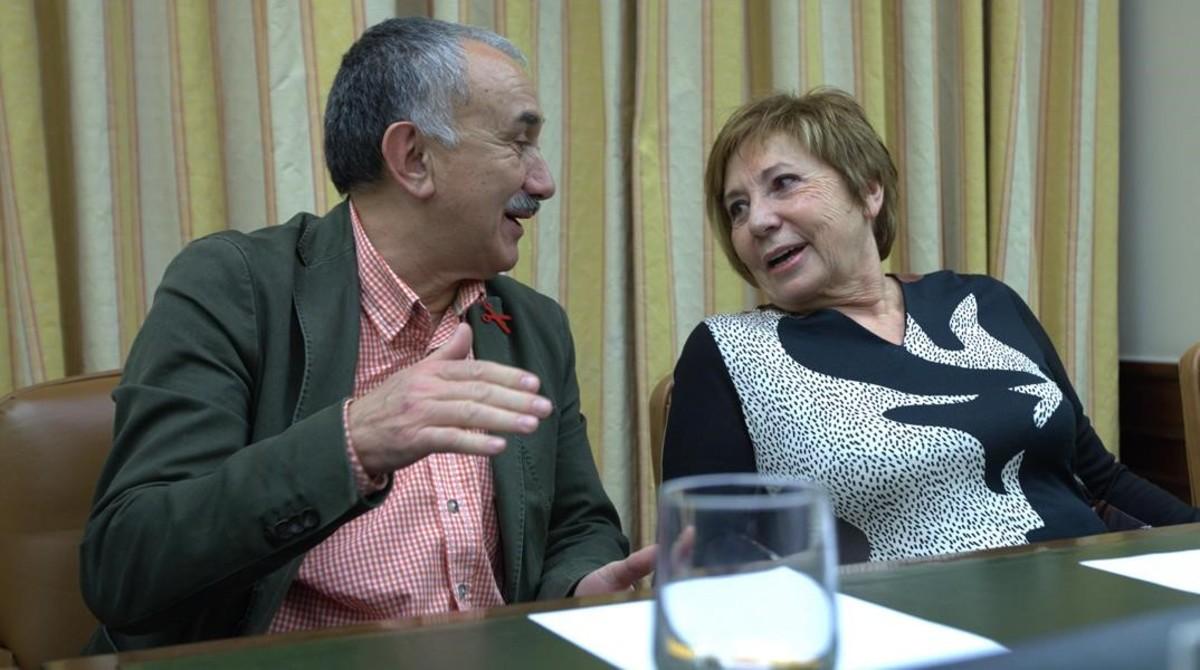 Josep Maria Álvarez,líder de UGT, en la comisión del Pacto de Toledo.