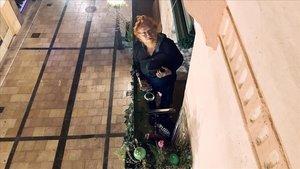 El saxofonista Justo Bagüeste, fotografiado por la vecina de arriba.