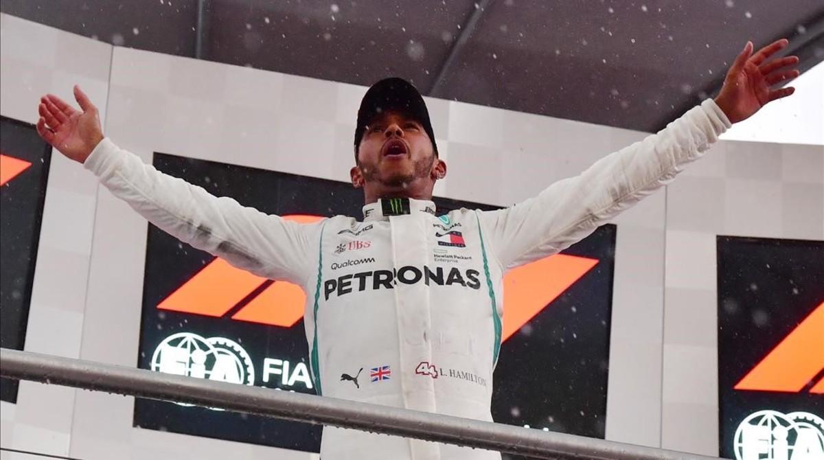 Lewis Hamilton (Mercedes) celebra su mejor triunfo del año en Hockenheim (Alemania).