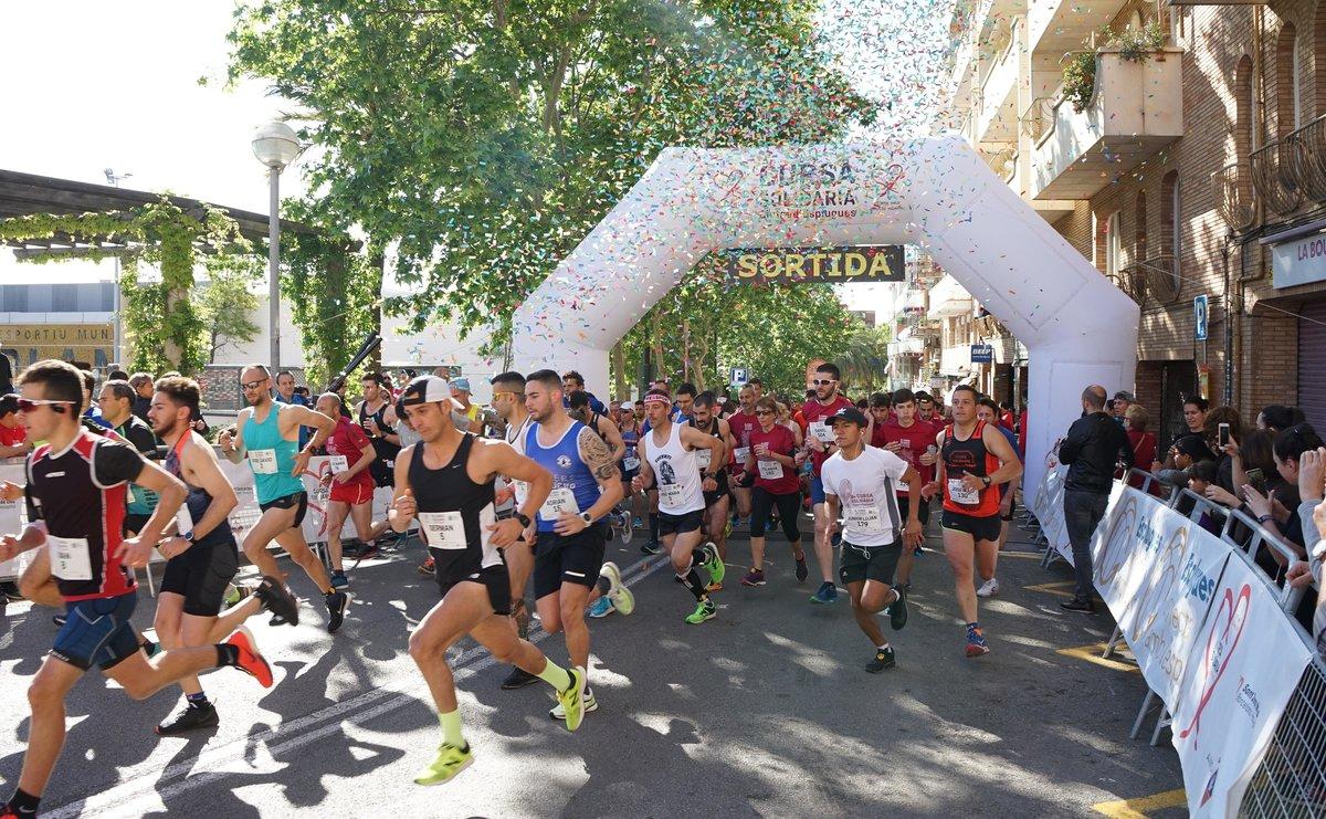 Línea de salida de la 9a Cursa Solidària Ciutat dEsplugues, el pasado domingo
